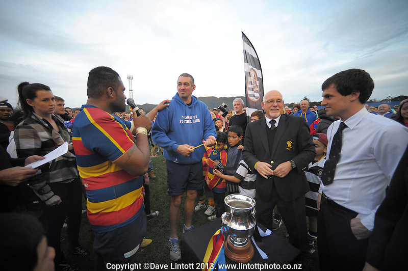 Tawa captain Taniela Koroi thanks assistant coach Dion Waller after his team won the Wellington Club Rugby Jubilee Cup final between Tawa and Oriental-Rongotai at Hutt Recreation Ground, Lower Hutt, Wellington, New Zealand on Sunday, 4 August 2013. Photo: Dave Lintott / lintottphoto.co.nz
