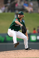 Pitcher Logan Browning (31) of the Greenville Drive delivers a pitch in a game against the West Virginia Power on Sunday, May 19, 2019, at Fluor Field at the West End in Greenville, South Carolina. Greenville won, 8-4. (Tom Priddy/Four Seam Images)