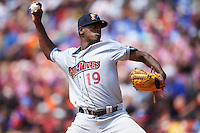 Scranton/Wilkes-Barre RailRiders pitcher Luis Severino (19) delivers a pitch during a game against the Buffalo Bisons on June 10, 2015 at Coca-Cola Field in Buffalo, New York.  Scranton/Wilkes-Barre defeated Buffalo 7-2.  (Mike Janes/Four Seam Images)
