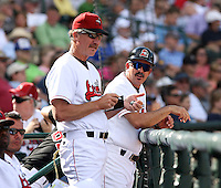 June 15th 2008:  Pitching Coach Danny Darwin (L) and Manager Juan Bastabad (R) of the Great Lakes Loons, Class-affiliate of the Los Angeles Dodgers, during a game at Dow Diamond in Midland, MI.  Photo by:  Mike Janes/Four Seam Images