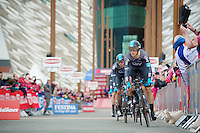 Team SKY off the start podium, Ben Swift (GBR/SKY) leading into the first corner<br /> <br /> Giro d'Italia 2014<br /> stage 1: TTT