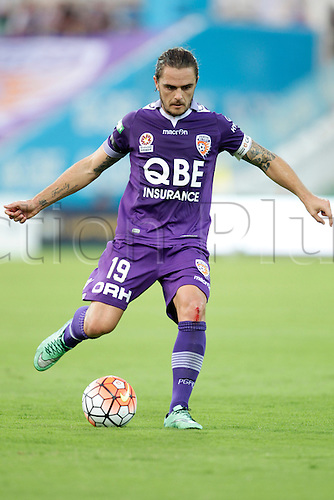 03.04.2016. NIB Stadium, Perth, Australia. Hyundai A League. Perth Glory versus Melbourne City. Josh Risdon looks to send the ball forward during the first half.
