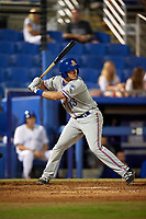 St. Lucie Mets second baseman Dale Burdick (13) at bat during a game against the Dunedin Blue Jays on April 19, 2017 at Florida Auto Exchange Stadium in Dunedin, Florida.  Dunedin defeated St. Lucie 9-1.  (Mike Janes/Four Seam Images)