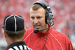 MADISON, WI - SEPTEMBER 9: Head coach Bret Bielema of the Wisconsin Badgers talks to an official against the Western Illinois Leathernecks at Camp Randall Stadium on September 9, 2006 in Madison, Wisconsin. The Badgers beat the Leathernecks 34-10. (Photo by David Stluka)
