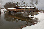 Perrine's Covered Bridge over the Wallkill River off of NY Route 213 Southwest of Rifton, NY on March 1, 2008. It is a Burr Arch Single Span bridge 154 feet long built in 1844 and restored in 1993. Photo by Jim Peppler. Copyright Jim Peppler/2008.