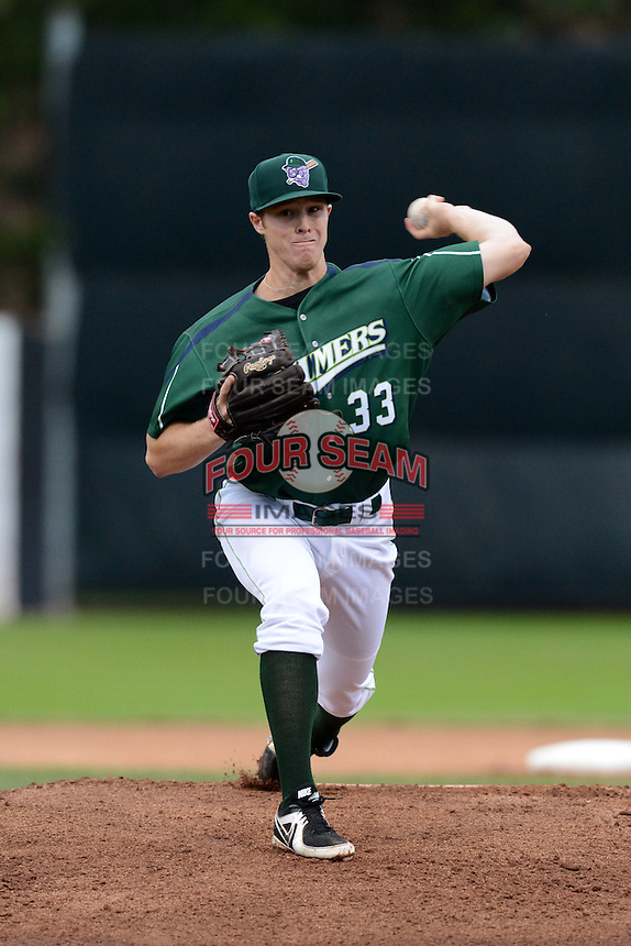 Jamestown Jammers pitcher Cody Dickson (33) during a game against the State College Spikes on September 3, 2013 at Russell Diethrick Park in Jamestown, New York.  State College defeated Jamestown 3-1.  (Mike Janes/Four Seam Images)