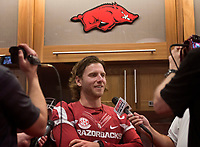 Hawgs Illustrated /BEN GOFF @NWABENGOFF<br /> Austin Allen, senior quarterback from Fayetteville, talks to the press in the locker room Saturday, Aug. 5, 2017, during Arkansas football media day at the Fred W. Smith Football Center in Fayetteville.