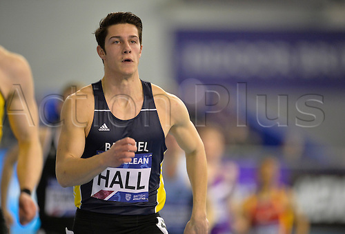 27.02.2016. EIS Sheffield, Sheffield, England. British Indoor Athletics Championships Day One. Hall runs in the 400 metres heat