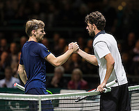 ABN AMRO World Tennis Tournament, Rotterdam, The Netherlands, 16 Februari, 2017, David Goffin (BEL), Robin Haase (NED)<br /> Photo: Henk Koster