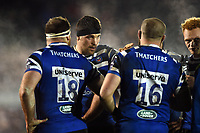 Charlie Ewels of Bath Rugby speaks to his team-mates. Premiership Rugby Cup match, between Bath Rugby and Gloucester Rugby on February 3, 2019 at the Recreation Ground in Bath, England. Photo by: Patrick Khachfe / Onside Images