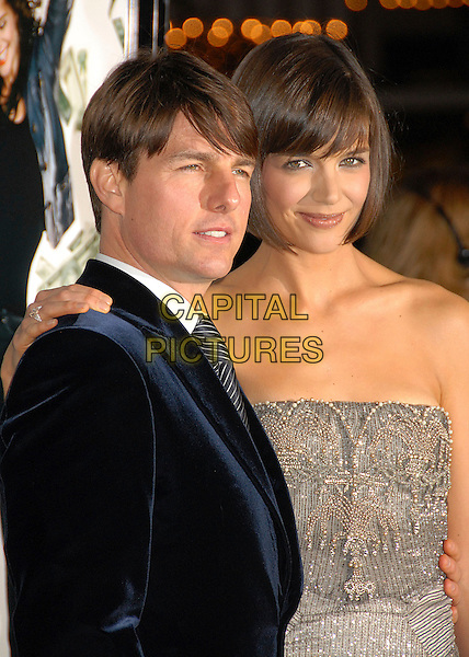 "TOM CRUISE & KATIE HOLMES.""Mad Money"" Los Angeles Premiere at Mann's Village Theatre, Westwood, California, USA..January 9th, 2008.half length blue suit jacket strapless silver dress jewel encrusted married husband wife beads beaded hand on shoulder .CAP/ADM/BP.©Byron Purvis/AdMedia/Capital Pictures."