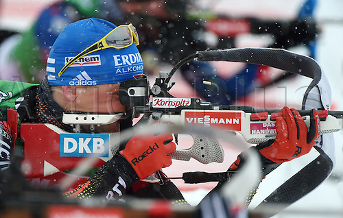 04.03.2016. Holmenkollen, Oslo, Norway.  Biathlete Erik Lesser of Germany in action during a training session at the Biathlon World Championships, in the Holmenkollen Ski Arena, Oslo, Norway, 04 March 2016.