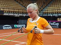 13 April, 2016, France, Trélazé, Arena Loire,   Semifinal FedCup, France-Netherlands, Dutch team warming up, Kiki Bertens<br /> Photo:Tennisimages/Henk Koster