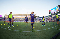 Orlando, Florida - Saturday, April 23, 2016: Orlando Pride forward Alex Morgan (13) and Kaylyn Kyle (6) warm up prior to an NWSL match between Orlando Pride and Houston Dash at the Orlando Citrus Bowl.