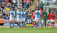 Blackburn Rovers' players look dejected after Charlton Athletic's first goal, scored by Ben Purrington (not in picture)<br /> <br /> Photographer Kevin Barnes/CameraSport<br /> <br /> The EFL Sky Bet Championship - Blackburn Rovers v Charlton Athletic - Saturday 3rd August 2019 - Ewood Park - Blackburn<br /> <br /> World Copyright © 2019 CameraSport. All rights reserved. 43 Linden Ave. Countesthorpe. Leicester. England. LE8 5PG - Tel: +44 (0) 116 277 4147 - admin@camerasport.com - www.camerasport.com