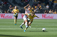 9th November 2019; Bankwest Stadium, Parramatta, New South Wales, Australia; International Womens Friendly Football, Australia versus Chile; Francisca Mardones of Chile tackles Hayley Raso of Australia in midfield - Editorial Use