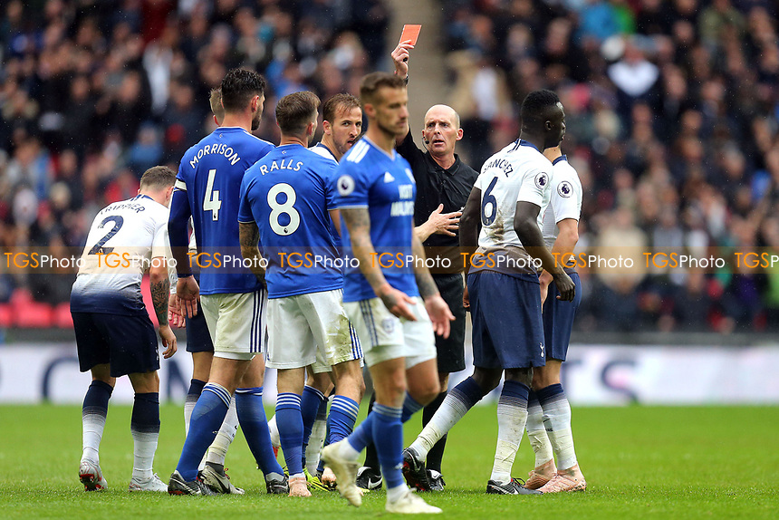 Joe Ralls of Cardiff City is sent off by referee MIKE DEAN during Tottenham Hotspur vs Cardiff City, Premier League Football at Wembley Stadium on 6th October 2018