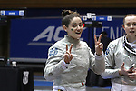 DURHAM, NC - FEBRUARY 26: Notre Dame's Francesca Russo during the Women's Team event. The Atlantic Coast Conference Fencing Championships were held on February, 26, 2017, at Cameron Indoor Stadium in Durham, NC.