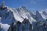 Dent du Géant (4013m) and Grandes Jorasses (4208m), Mont-Blanc massif, Chamonix, France, 2008