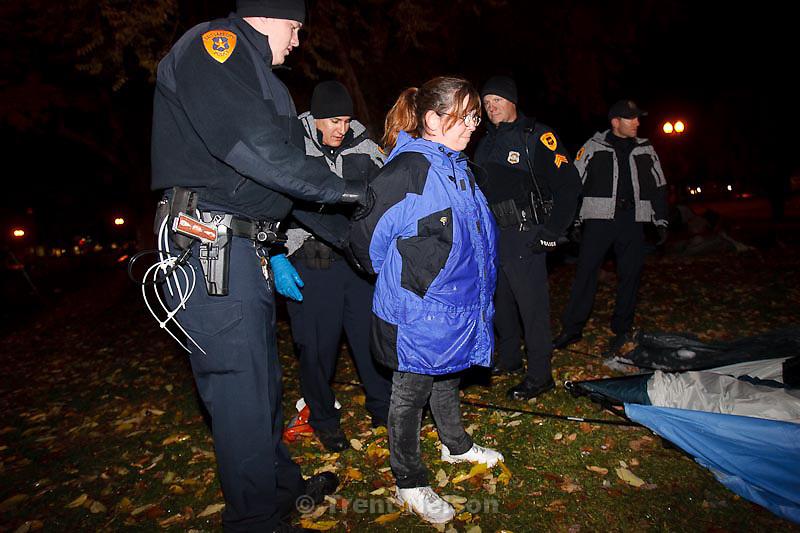 Trent Nelson  |  The Salt Lake Tribune.Salt Lake City police cleared the Occupy Salt Lake tent city from Pioneer Park in Salt Lake City, Utah, Saturday, November 12, 2011. activist arrested