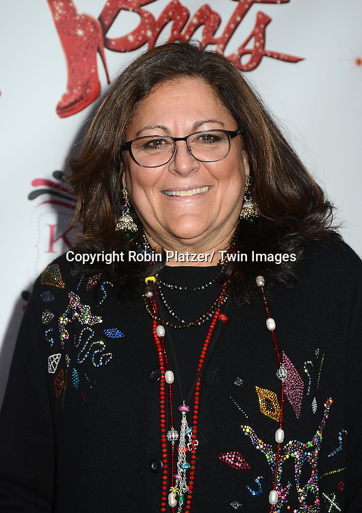 "Fern Mallis arrives at the ""Kinky Boots"" Broadway Opening on April 4, 2013 at The Al Hirschfeld Theatre in New York City. Harvey Fierstein wrote is the Book Writer and Cnydi Lauper is the Composer."