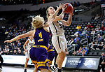 SIOUX FALLS, SD - MARCH 8: Keni Jo Lippe #33 of the Oral Roberts Golden Eagles goes up for a layup against Danni Nichols #4 of the Western Illinois Leathernecks at the 2020 Summit League Basketball Championship in Sioux Falls, SD. (Photo by Dave Eggen/Inertia)