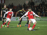 Fleetwood Town's Ched Evans scores his sides second goal <br /> <br /> Photographer Mick Walker/CameraSport<br /> <br /> Emirates FA Cup Third Round - Fleetwood Town v AFC Wimbledon - Saturday 5th January 2019 - Highbury Stadium - Fleetwood<br />  <br /> World Copyright © 2019 CameraSport. All rights reserved. 43 Linden Ave. Countesthorpe. Leicester. England. LE8 5PG - Tel: +44 (0) 116 277 4147 - admin@camerasport.com - www.camerasport.com