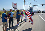 Protestors outside the Basque Fry at the Corley Ranch  in Gardnerville, Nevada on Saturday, August 26, 2017.