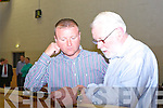 Sinn Fein Damian Quigg checks the figures with Martin Ferris in Killarney on Sunday