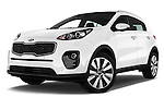Stock pictures of low aggressive front three quarter view of 2016 KIA Sportage Sense 5 Door Suv Low Aggressive