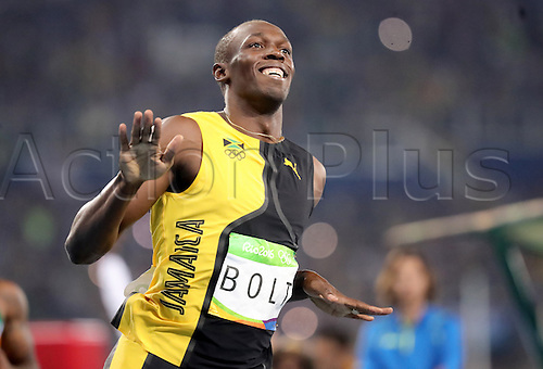 14.08.2016. Rio de Janeiro, Brazil. Usain Bolt of Jamaica celebrates after winning the Men's 100m Finals of the Athletic, Track and Field events during the Rio 2016 Olympic Games at Olympic Stadium in Rio de Janeiro, Brazil, 14 August 2016.