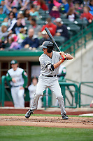 Wisconsin Timber Rattlers first baseman Ryan Aguilar (21) at bat during a game against the Fort Wayne TinCaps on May 10, 2017 at Parkview Field in Fort Wayne, Indiana.  Fort Wayne defeated Wisconsin 3-2.  (Mike Janes/Four Seam Images)
