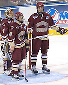 Cory Schneider, Mike Brennan, Brian Boyle - The Boston College Eagles defeated the University of North Dakota Fighting Sioux 6-5 on Thursday, April 6, 2006, in the 2006 Frozen Four afternoon Semi-Final at the Bradley Center in Milwaukee, Wisconsin.