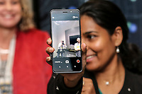 April 11 2019. San Diego, CA. USA|  Qualcomm's Staff Engineer Shivani Chouti talks about AI 4th generation snapdragon 855 platform. | Photos by Jamie Scott Lytle. Copyright.