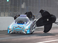 Feb 10, 2018; Pomona, CA, USA; NHRA funny car driver Jonnie Lindberg during qualifying for the Winternationals at Auto Club Raceway at Pomona. Mandatory Credit: Mark J. Rebilas-USA TODAY Sports