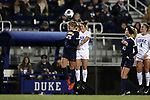 DURHAM, NC - NOVEMBER 11: UNCG's Heida Ragen Vidarsdottir (ISL) (25) and Duke's Kat McDonald (right). The Duke University Blue Devils hosted the UNCG Spartans on November 11, 2017 at Koskinen Stadium in Durham, NC in an NCAA Division I Women's Soccer Tournament First Round game. Duke won the game 1-0.