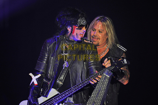 LONDON, ENGLAND - NOVEMBER 6: Nikki Sixx and Vince Neil of 'M&ouml;tley Cr&uuml;e' performing at SSE Arena Wembley on November 6, 2015 in London, England.<br /> CAP/MAR<br /> &copy; Martin Harris/Capital Pictures