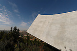 Jerusalem, Israel, Yad Vashem, the Holocaust Martyrs' and Heroes' Authority. The northern edge of the new Holocaust History Museum designed by Moshe Safdie (2005)<br />