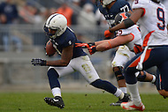 November 2, 2013  (State College, Pennsylvania)  Running back Bill Belton #1 of the Penn State Nittany Lions evades a tackle by defensive lineman Houston Bates #55 of the Illinois Fighting Illini Nov. 2, 2013.   Penn State won in OT 24-17. (Photo by Don Baxter/Media Images International)
