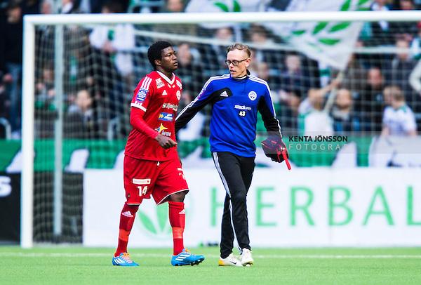 Stockholm 2014-05-04 Fotboll Superettan Hammarby IF - IFK V&auml;rnamo :  <br /> V&auml;rnamos Benjamin Fadi har skadat sig under den f&ouml;rsta halvleken<br /> (Foto: Kenta J&ouml;nsson) Nyckelord:  Superettan Tele2 Arena Hammarby HIF Bajen V&auml;rnamo skada skadan ont sm&auml;rta injury pain