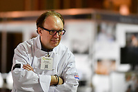 Melbourne, 30 May 2017 - Head judge Philippe Mouchel from the Philippe Restaurant kitchen invigilator judge watches the action at the Australian selection trials of the Bocuse d'Or culinary competition held during the Food Service Australia show at the Royal Exhibition Building in Melbourne, Australia. Photo Sydney Low