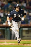 Chad Mozingo #4 of the Rice Owls hustles down the first base line versus the Texas A&M Aggies in the 2009 Houston College Classic at Minute Maid Park February 28, 2009 in Houston, TX.  The Owls defeated the Aggies 2-0. (Photo by Brian Westerholt / Four Seam Images)