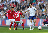 England's Harry Maguire holds off Bulgaria's Marcelinho and Galin Ivanov<br /> <br /> Photographer Rob Newell/CameraSport<br /> <br /> UEFA European Championship Qualifying Group A - England v Bulgaria - Saturday 7th September 2019 - Wembley Stadium - London<br /> <br /> World Copyright © 2019 CameraSport. All rights reserved. 43 Linden Ave. Countesthorpe. Leicester. England. LE8 5PG - Tel: +44 (0) 116 277 4147 - admin@camerasport.com - www.camerasport.com