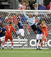 22 April 2009: Chivas USA goalkeeper Zach Thornton #22 makes a save at BMO Field in a MLS game between Chivas USA and Toronto FC.Toronto FC won 1-0. .
