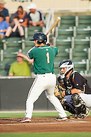 Avery Romero (1) of the Greensboro Grasshoppers at bat against the Kannapolis Intimidators at CMC-Northeast Stadium on June 12, 2014 in Kannapolis, North Carolina.  The Grasshoppers defeated the Intimidators 5-2.  (Brian Westerholt/Four Seam Images)