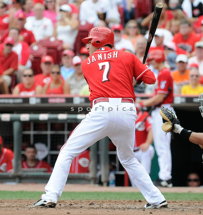 PAUL JANISH, of  the Cincinnati Reds, in action during the Reds game against the Florida Marlins at Great American Ball Park in Cincinnati, Ohio on August 15, 2010.   Reds won the game 2-0...