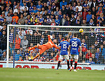 02.08.18 Rangers v FK Osijek: Allan McGregor gets his hand to the ball to prevent a goal