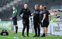 Lincoln City manager Michael Appleton, left, Lincoln City's assistant manager David Kerslake, centre, and Lincoln City's first team development coach Richard O'Donnell<br /> <br /> Photographer Chris Vaughan/CameraSport<br /> <br /> The EFL Sky Bet League One - Milton Keynes Dons v Lincoln City - Saturday 19th September 2020 - Stadium MK - Milton Keynes<br /> <br /> World Copyright © 2020 CameraSport. All rights reserved. 43 Linden Ave. Countesthorpe. Leicester. England. LE8 5PG - Tel: +44 (0) 116 277 4147 - admin@camerasport.com - www.camerasport.com