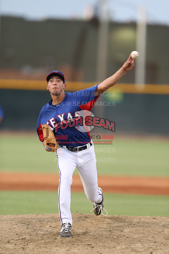 Sal Mendez (25) of the AZL Rangers pitches during a game against the AZL Angels at the Texas Rangers Spring Training Complex on July 1, 2015 in Surprise, Arizona. Rangers defeated the Angels, 3-1. (Larry Goren/Four Seam Images)