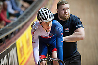 Picture by Allan McKenzie/SWpix.com - 06/01/2018 - Track Cycling - Revolution Champion Series 2017 - Round 3 - HSBC UK National Cycling Centre, Manchester, England - Hamish Turnbull is push-started in the 200m time trial sprint, HSBC UK, Kalas, branding.
